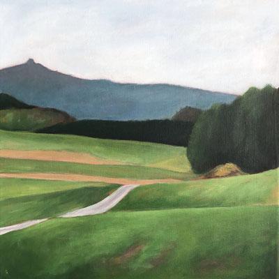 o.T. (kleine Eifellandschaft) (2019, Acryl auf Leinwand, 30x30 cm)