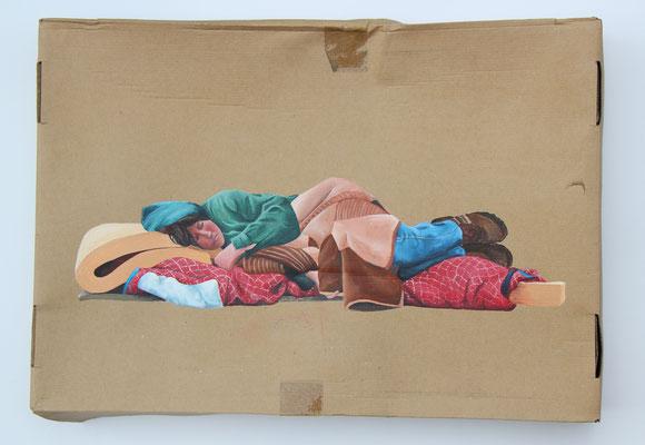 Obdachlos (2018, Acryl auf Altpapierpappe, 45x64,5 cm)