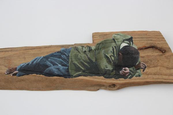 Ohne Worte (2018, Acryl auf Schwemmholz, ca. 70x16 cm)
