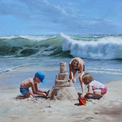 'Schnell eine Sandburg', 100 x 100 cm