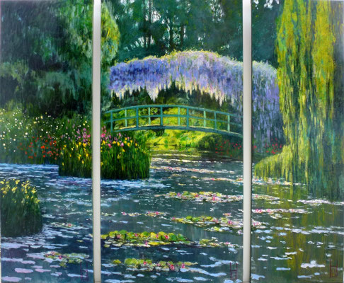 Monet's japanische Brücke, Triptychon, 40/60/40 x 120 cm