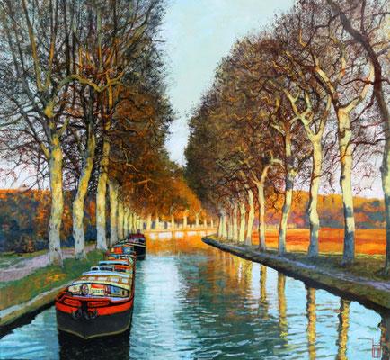 Hausboote auf dem canal due midi, 110x120 cm