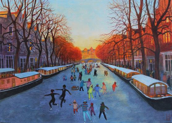 Winter 2020 in Amsterdam, 100x140 cm