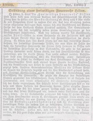 Ein Artikel zur Gründung der Feuerwehr  von 1926