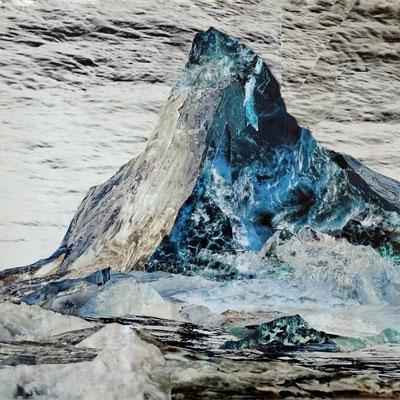 Mountain of water #2 Matterhorn - Fotografie auf Leinwanddruck von Handcut Paper Collage (120cm x 120cm) © Edel Seebauer