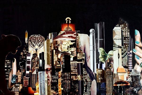 Night Beauty #1 - Fotografie/Acrylprint von Handcut Paper Collage (90cm x 60cm), 3 limited editions © Edel Seebauer