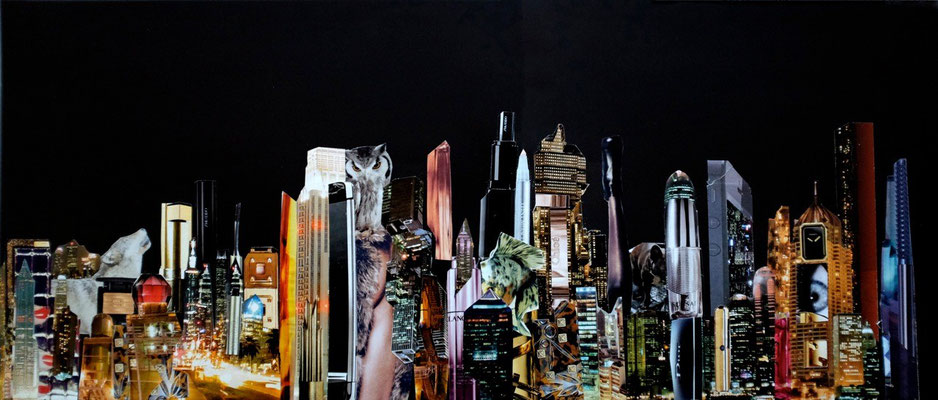 Night Beauty #3 - Handcut Paper Collage (54cm x 22cm) © Edel Seebauer