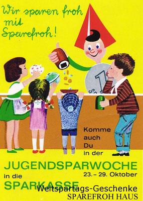 Weltspartag 1964 - Sparefroh. Plakat von Heinz Traimer. (Sammlung Bezirksmuseum Alsergrund)