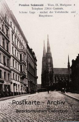 Verkehrsfreie Straße - die Hörlgasse mit Blick auf die Votivkirche um 1900.
