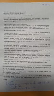 Carta enviada al Presidente del Gobierno de Ecuador