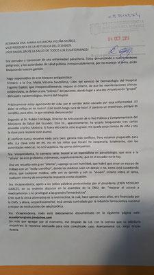 Carta enviada a la Vicepresidenta del gobierno de Ecuador
