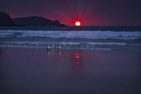 Sonnenuntergang am Strand von Newquay