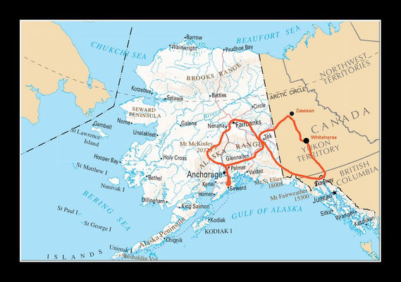 Landkarte Alaska mit Reiseroute