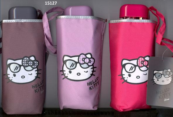 15127 Mini parapluie plat uni Hello Kitty à ouverture manuelle  set de 2