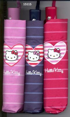 15115 Mini parapluie Hello Kitty à rayures ouverture et fermeture automatique set de 3