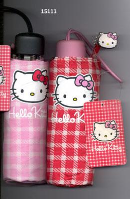 15111 Mini parapluie Hello Kitty vichy à ouverture manuelle set de 2