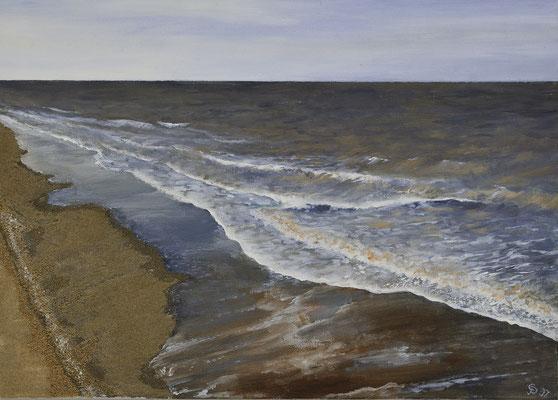 Angespült 50x70 / Acryl, Sand / 2001 / Eingerahmt /----CHF 1'400---