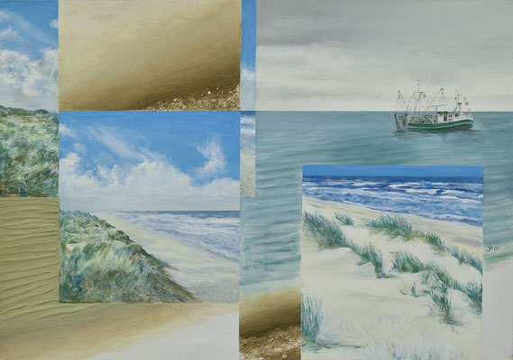 Collage-Nordsee 70 x 90 / Acryl, Sand , Spachtelmasse / 2007 / ----CHF 1'400---