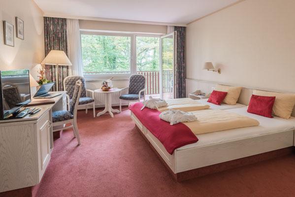 Unsere Doppelzimmer mit Blick auf den Kurpark Bad Bevensen.