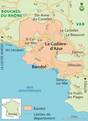 La carte du vignoble de Bandol
