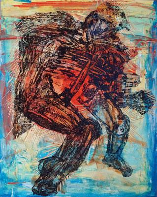 内藤瑶子 Yoko Naito「リズムはリズム(赤)」   oil, monotype, collagraph, panel, 910×727mm, 2019