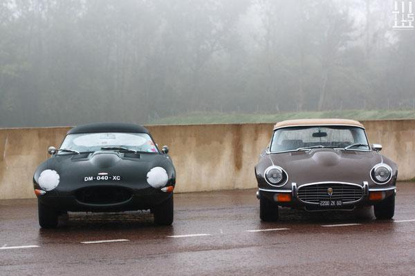 Deux belles Jaguar Type-E - Journées d'Automne 2015, Circuit des Ecuyers.