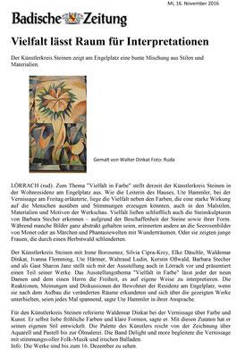 """Badische Zeitung (16.11.2016) - Ausstellung """"Vielfalt in Farbe"""" in Lörrach"""