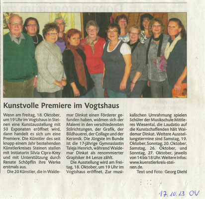 Künstvolle Premiere im Vogthaus (17.10.2013)