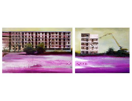 Weggezogen, 100 x 150 cm u. 100 x 120 cm, Oil on canvas, 2007