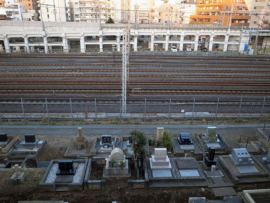 眼下にはJRの線路が。電車からは見えないけど、谷中霊園は広い!