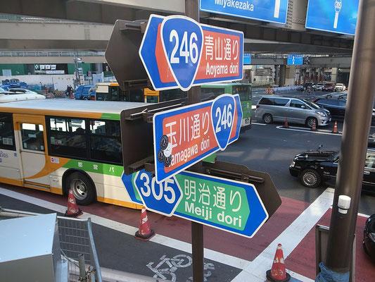 主要幹線道路の交差点。交通量も多い。