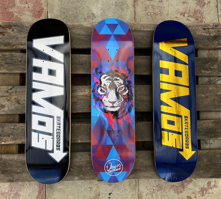 Vamos Skateboards Fall 2020 Decks - Black Speed, Tiger, Navy/Gold Speed Deck