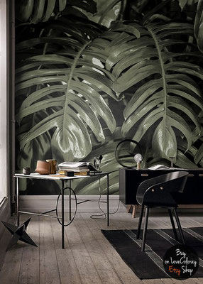 papier peint tropical et jungle dans un bureau