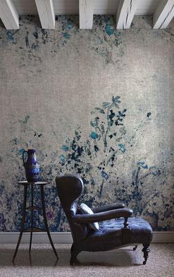 papier peint fleurs dans un salon
