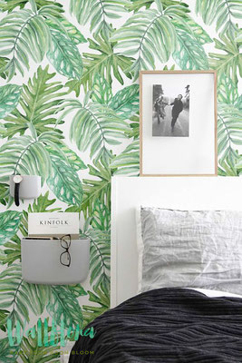 papier peint tropical vert dans la chambre