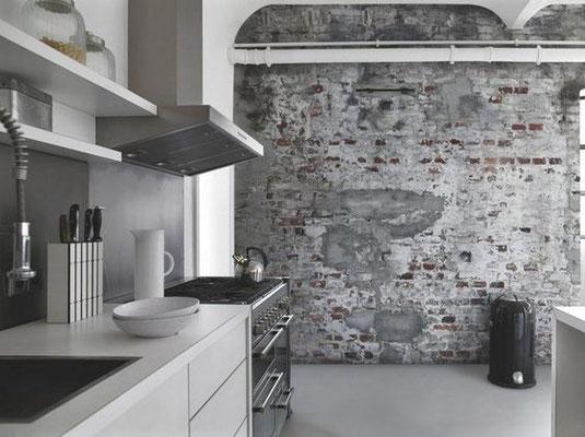 papier peint effet brique et béton dans cuisine