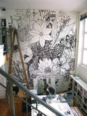 illustration murale florale par charlotte mann article by al intérieurs