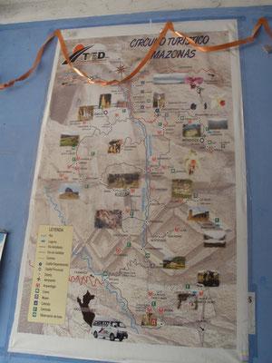 Mapa turistico de la Region de Amazonas