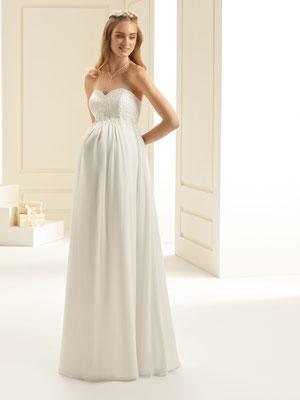 Umstands- Brautkleid im Empire Stil aus hochwertigem Chiffon und Spitze