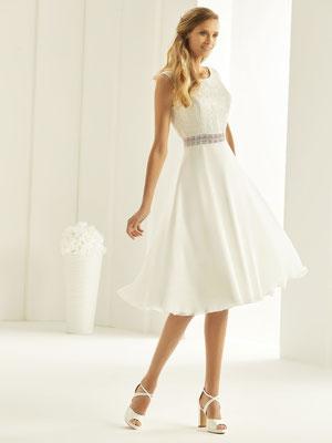 A-Linie Brautkleid aus hochwertiger Spitze und Chiffon 3/4 Länge