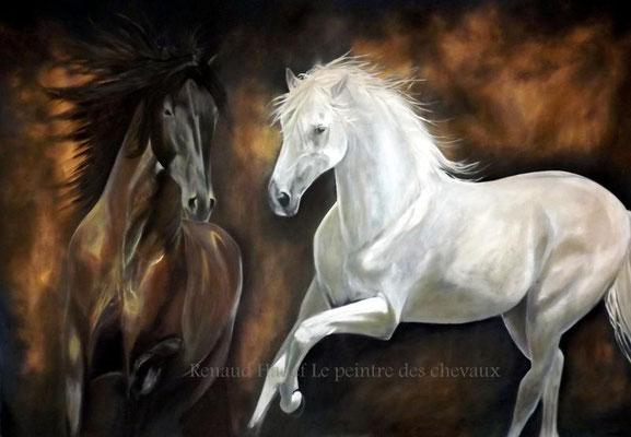 Black and white-Huile sur toile 200x150cm