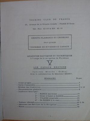 TOURING CLUB DE FRANCE, Itinéraire, Les canaux bretons, TCF, 1957 (la Bibli du Canoe)