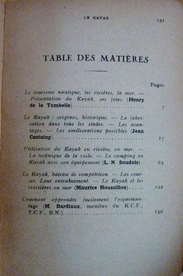de la TOMBELLE, CASTAING, SOUDOIS, ROUSSILLON, BARDIAUX, Le kayak ou initiation aux joies nautiques, 1934 (la Bibli du Canoe)