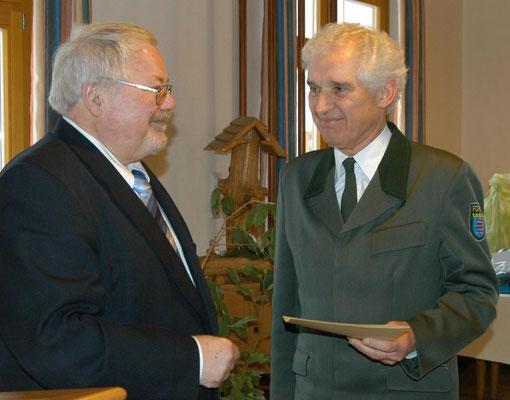 Prof. Dr. Backhaus (rechts) wurde 2006 vom  damaligen Staatssekretär im Hessischen Ministerium für Umwelt, ländlichen Raum und Verbraucherschutz, Karl-Winfried Seif, in den Ruhestand verabschiedet.  (Foto: Bach)