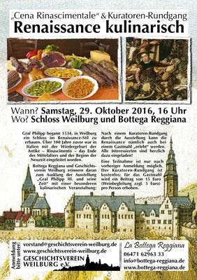 Am 29. 10.2016 in Weilburg die Renaissance kulinarisch erleben