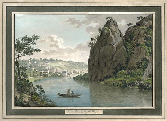 """Ein Gemälde aus dem frühen 19. Jahrhundert zeigt nicht nur einen Nachen im Vordergrund… (Bild: """"Die Hausley bei Weilburg, um 1815"""", in: Historische Ortsansichten <http://www.lagis-hessen.de/de/subjects/idrec/sn/oa/id/3341> (Stand: 31.7.2007))"""