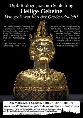 Wie groß war Karl der Große wirklich? Anthropologie-Vortrag von Dipl.-Biologe Joachim Schleifring