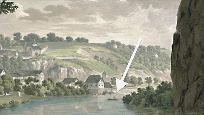 """… sondern offenbart auch in der Vergrößerung das Rollschiff! (Bildausschnitt: """"Die Hausley bei Weilburg, um 1815"""", in: Historische Ortsansichten <http://www.lagis-hessen.de/de/subjects/idrec/sn/oa/id/3341> (Stand: 31.7.2007))"""
