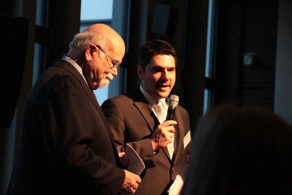 Im Gespräch: Prof. Dr. Michael Vilain und Prof. em. Bernhard Meyer (Moderation). [Social Talk 2015] © Ehrig