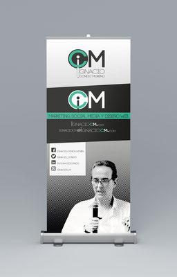 Diseño de identidad corporativa y roll up de Ignacio CM